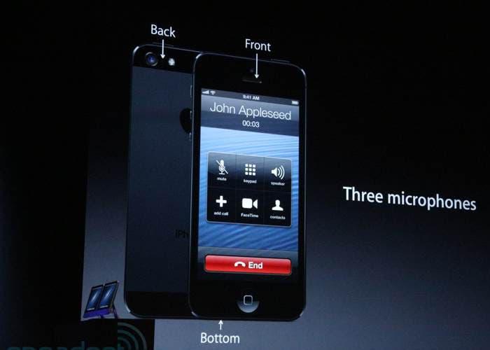 Localización de los tres micrófonos del iPhone5
