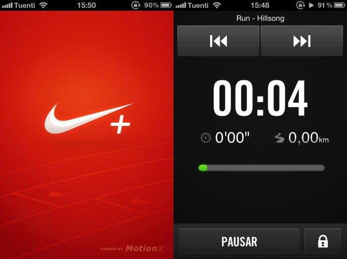 Dos capturas de pantalla sobre el funcionamiento de Nike+ en iOS