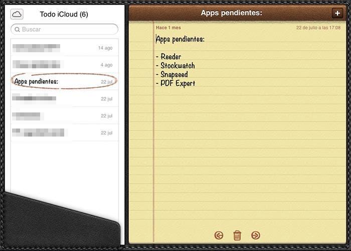 Notas en iCloud web