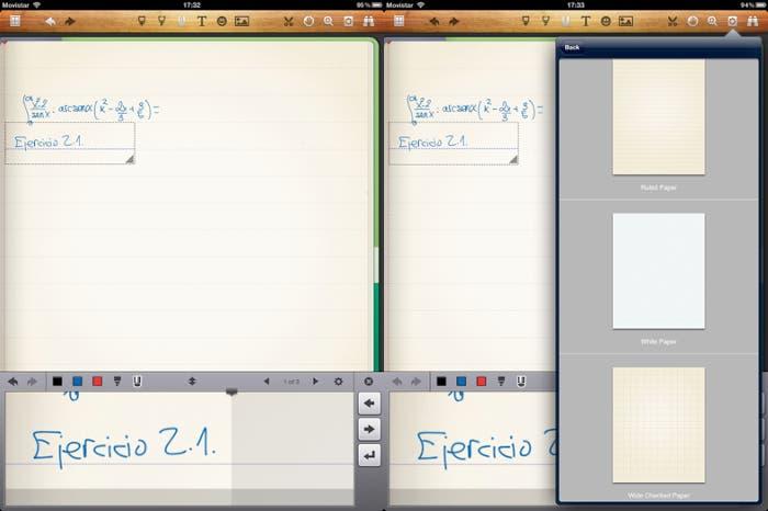 Dos capturas de pantalla sobre el funcionamiento de Noteshelf en el iPad