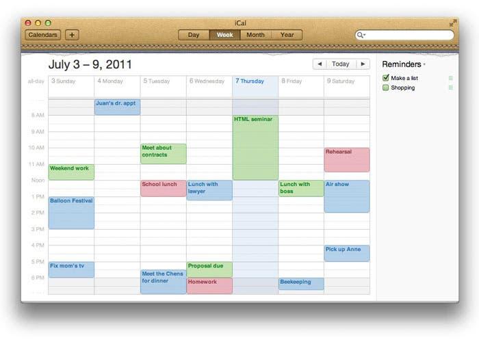 pantalla principal de la aplicación de OS X iCal