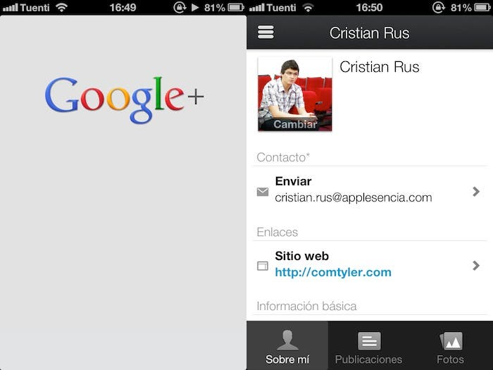 Captura de pantalla de Google Plus para iPhone