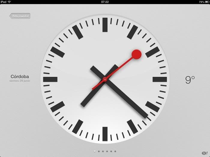 Aplicación del Reloj en el iPad con iOS 6