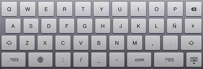 Imagen del teclado virtual del iPad