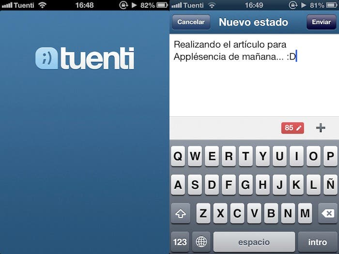Captura de pantalla de Tuenti para iPhone