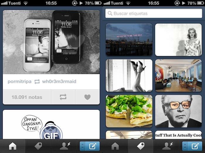 Captura de pantalla de Tumblr para iPhone
