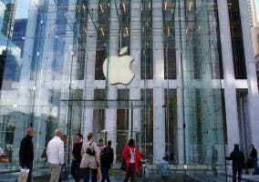 Fotografía de la fachada de la Apple Store de Nueva York