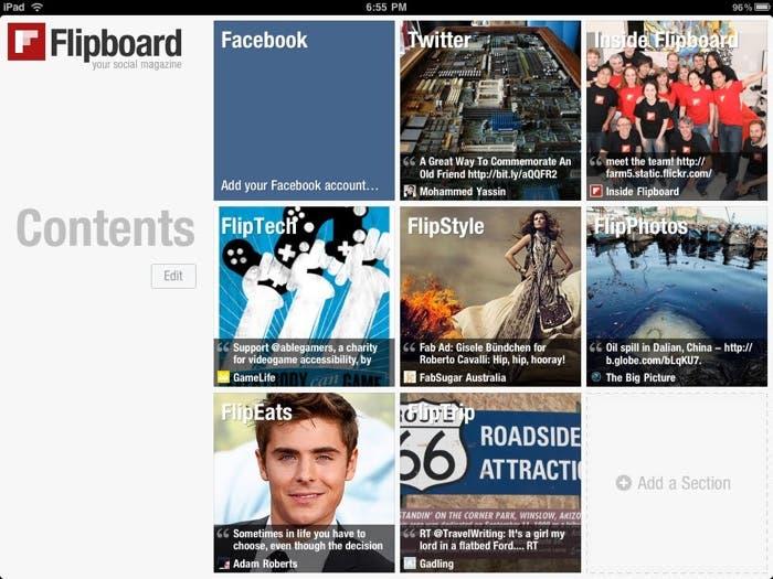Captura de pantalla de Flipboard para iPad