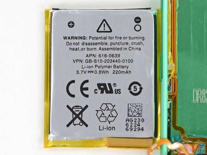 Desmontando el iPod nano 7G: Batería
