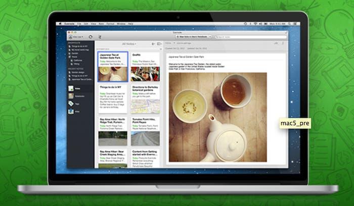 Captura de pantalla de Evernote 5 en MacBook Pro