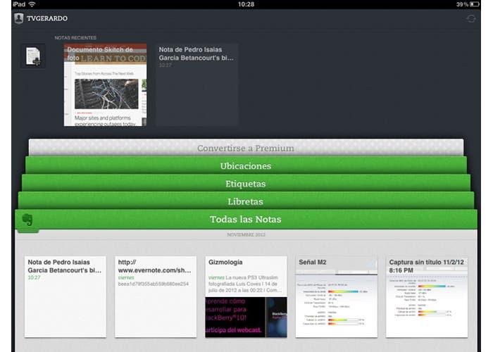 Evernote 5 en un iPad
