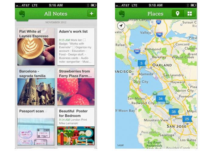 Captura de Evernote 5 en el iPhone