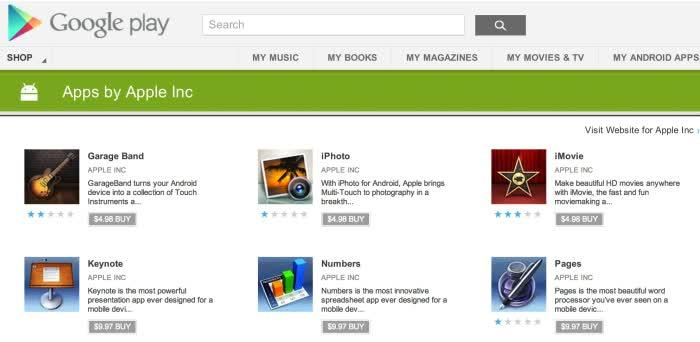 Aplicaciones falsas de Apple en Google Play