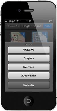 La integración con los servicios web es uno de los puntos fuertes de Scanner Pro