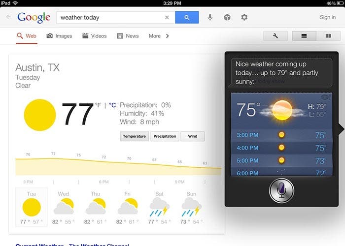 Google Search y Siri en el iPad