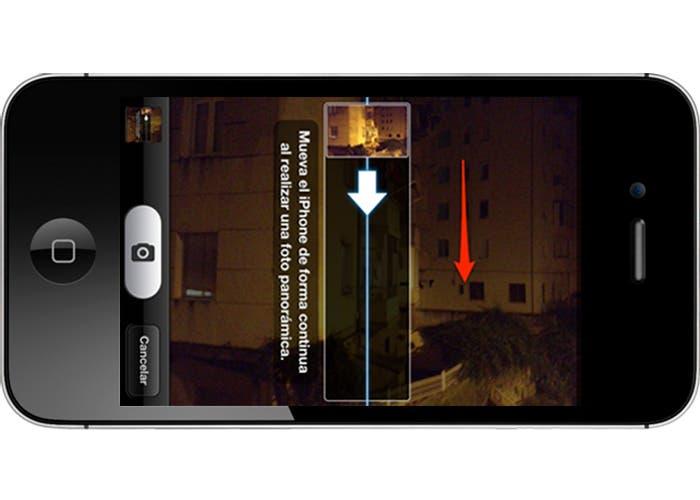 iPhone tomando una panorámica vertical