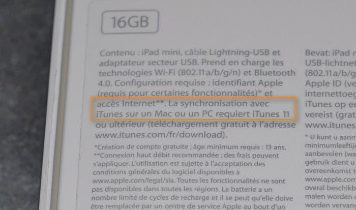 En la caja del iPad mini pone como requisito mínimo iTunes 11