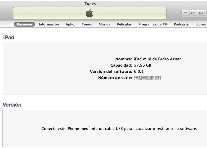 El iPad mini no muestra icono en iTunes 10