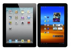 Imagen comparativa del iPad vs Samsung Galaxy Tablet