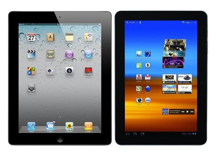 Imagen comparativa del iPad vs Samsung Galaxy Tablet