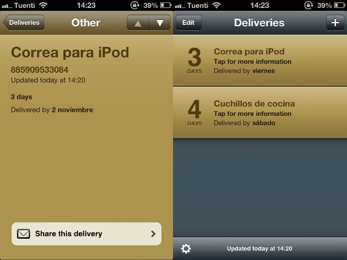 Interfaz e Delivery Status para iPhone