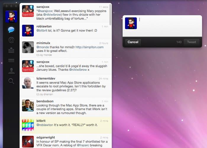 Twitter en el sistema operativo OS X