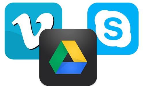 Icono de las App Vimeo, Google Drive y Skype