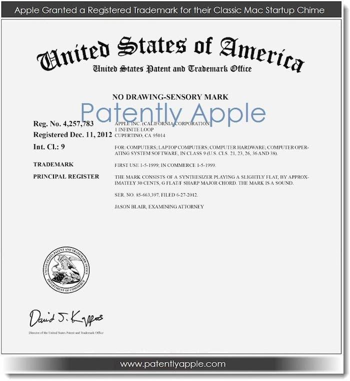 Documento acreditativo de la patente del sonido de inicio de los Mac