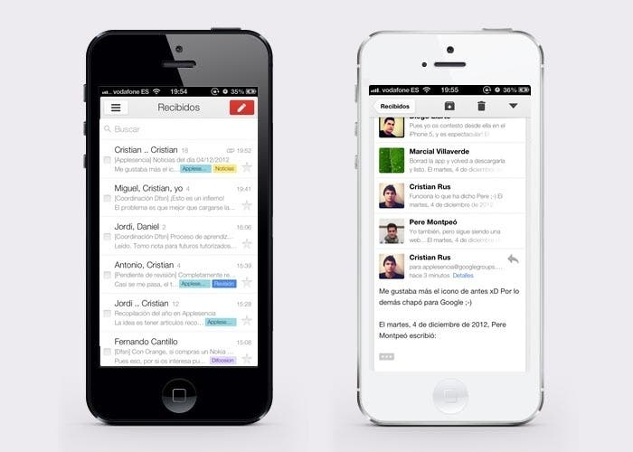 GMail para iPhone 5 en la versión 2.0