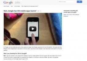 Página de Google para la búsqueda de desarrolladores iOS