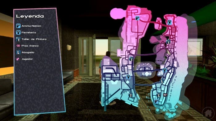 Captura de la vista de mapa en Vice City para iOS