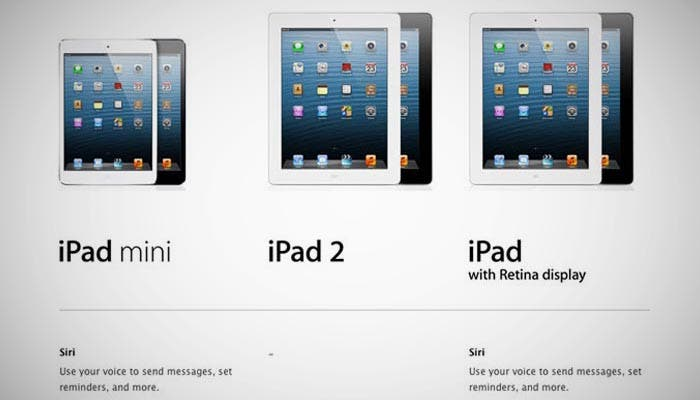 Comparativa entre el iPad mini y el iPad 2