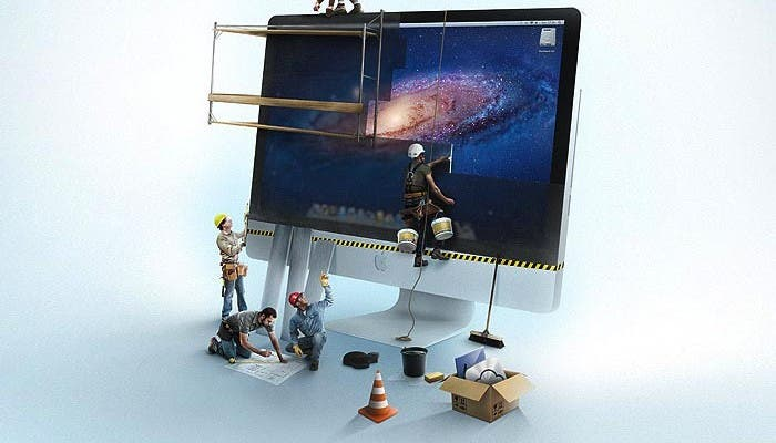 Muñecos construyendo un iMac