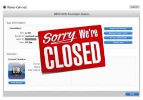 Cartel de cierre de iTunes Connect por Navidad