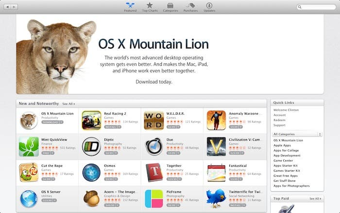 Mountain Lion en la App Store