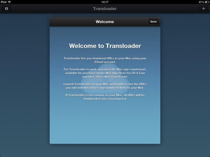 Welcome Transloader para iPad
