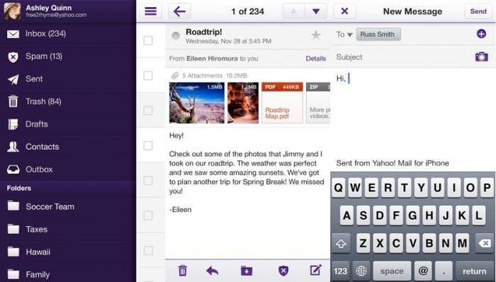 Capturas de la nueva aplicación de correo de Yahoo!