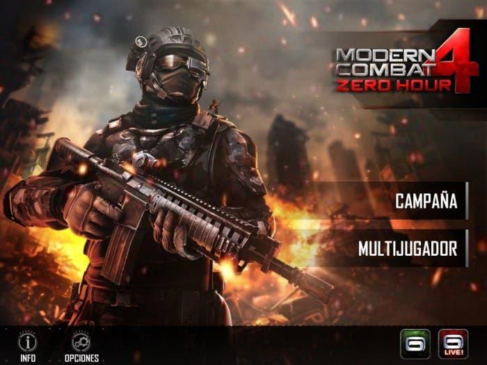Captura de la pantalla inicial de Modern Combat