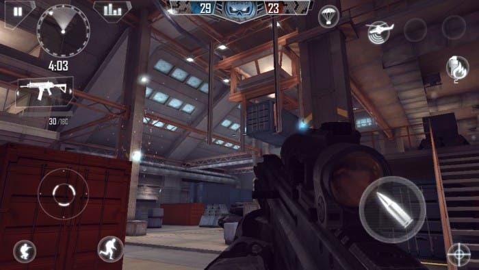 Captura de pantalla durante una partida multijugador en un iPad 2
