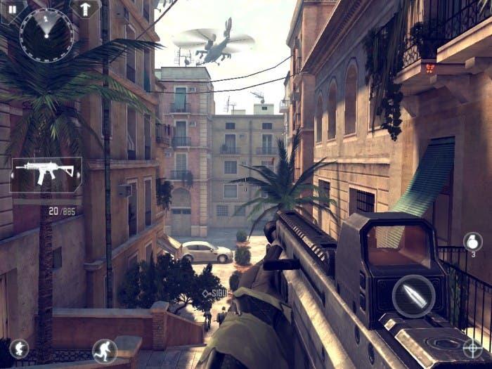 Captura de Modern Comabt 4 durante una misión ambientada en Barcelona
