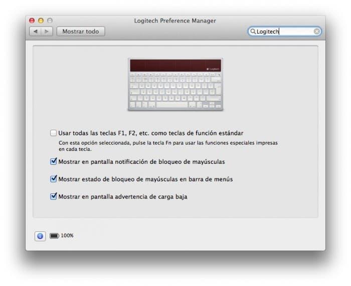 Preferencias en Mac del Teclado Logitech