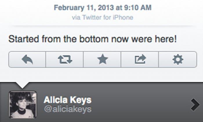 Tweet de Alicia Keys desde iPhone
