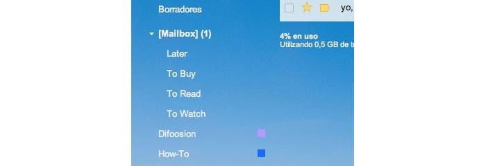 Trato de etiquetas de Gmail en Mailbox