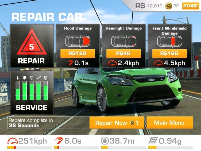 Reparación de un coche en Real Racing 3