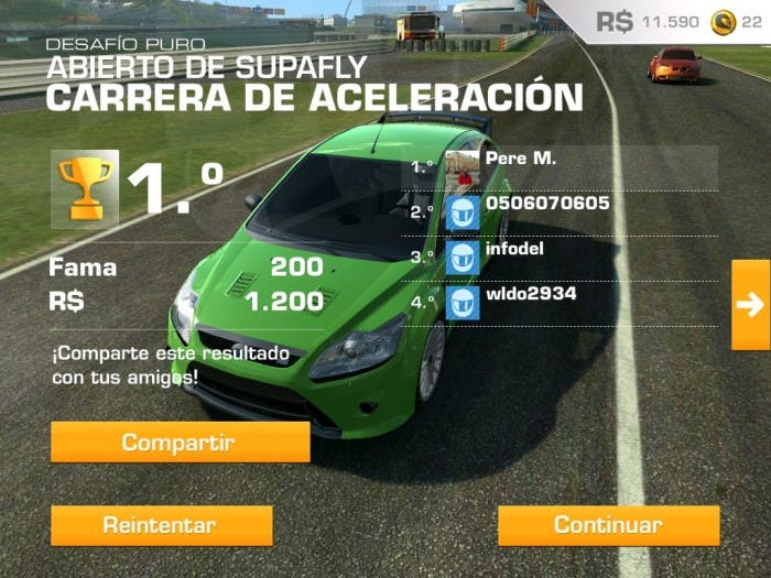 Carrera de aceleración en Real Racing 3