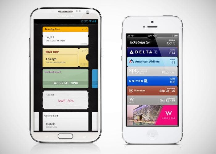 Samsung Wallet y iPhone con Passbook