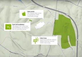 Mapa del datacenter que funciona con energía renovable