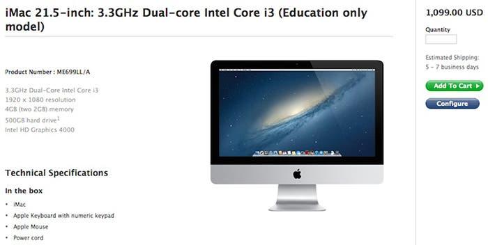 Especificaciones técnicas del iMac para instituciones educativas