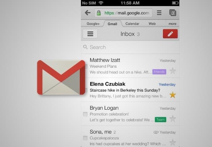 Interfaz de Gmail para móvies