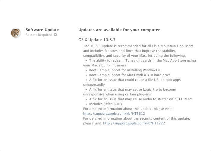 Los cambios en OSX 10.8.3